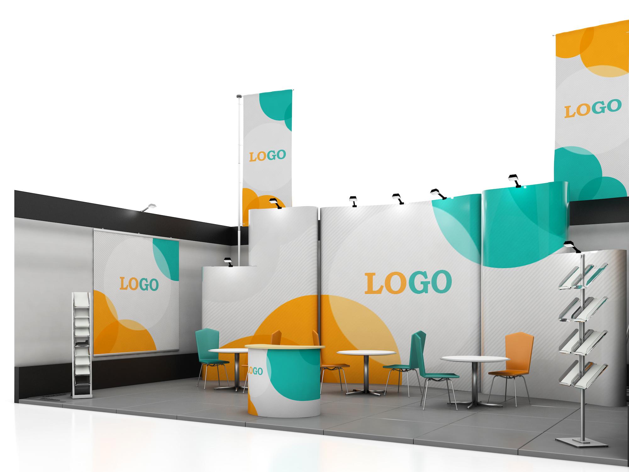 Diseño de stand de exposición creativa en blanco con formas de color. Plantilla de stand. Marcas corporativas e identidad corporativa. Render 3d