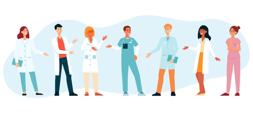 Doctors gesticulating no full background illustration