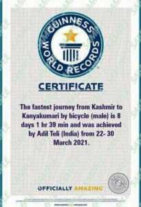 Kashmiri Cyclist Adil sets Guinness record for pedaling from Kashmir to Kanyakumari in record time 9 1