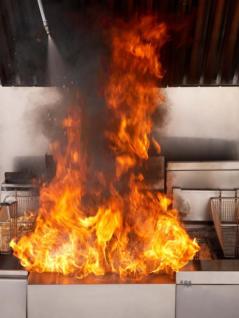 Fire Suppression System Putting out a Fryer Fire