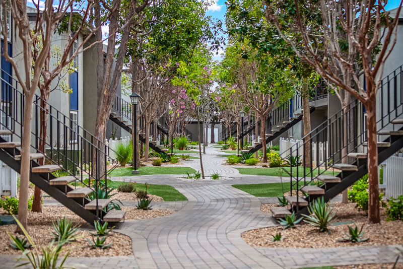Twin Pines Apartments walkways and outdoor stairs of units