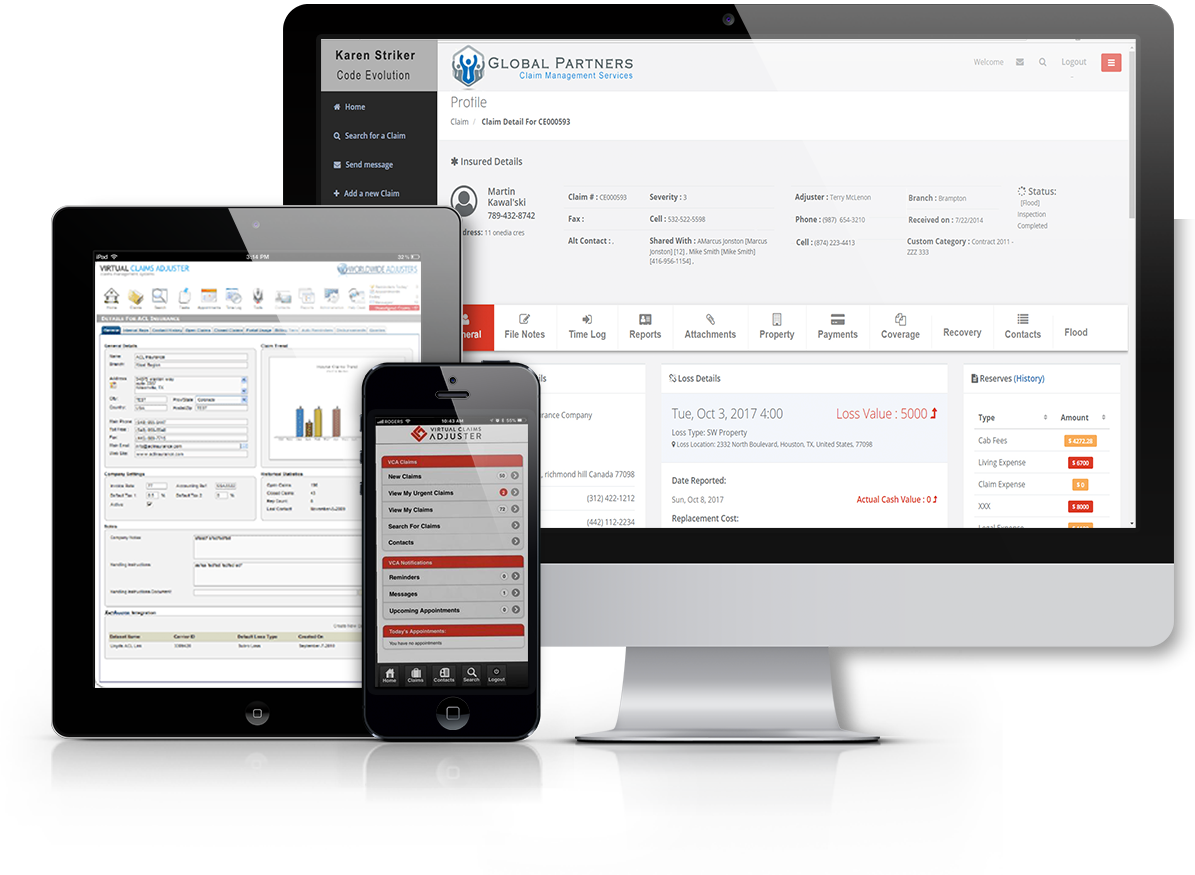 Virtual Claims Adjuster Apps on Mobile, Tablet or computer