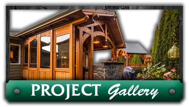 A walk-in pavilion next to the words 'Project Gallery' advertising the gallery of Framework Plus in Portland, OR