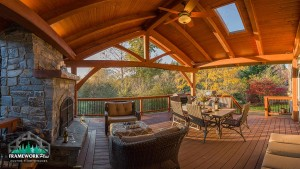 Panoramic view of a custom patio design from Framework Plus in Estacada, OR