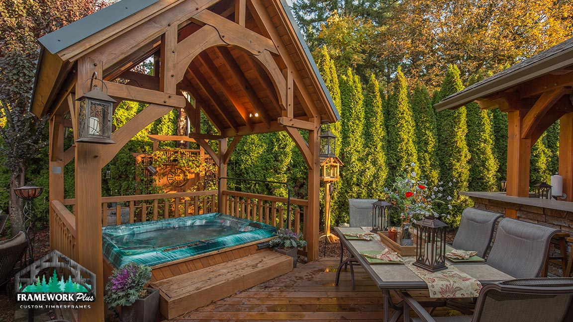 Hot tub covered by a gazebo built by Framework Plus in Portland, OR