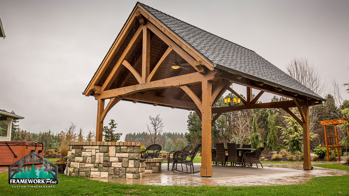 A pavilion with a fire pit specially crafted by Framework Plus in Estacada, OR