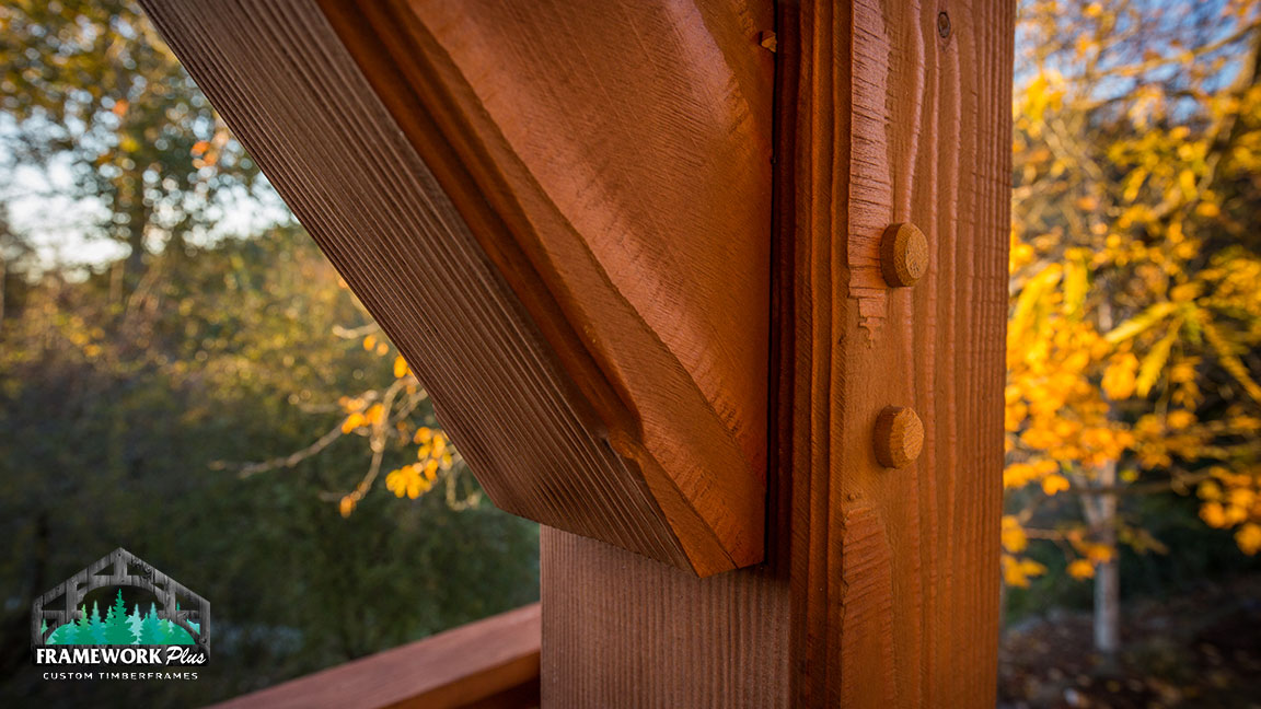 Hardwood truss that's part of a deck design in Estacada, OR from Framework Plus