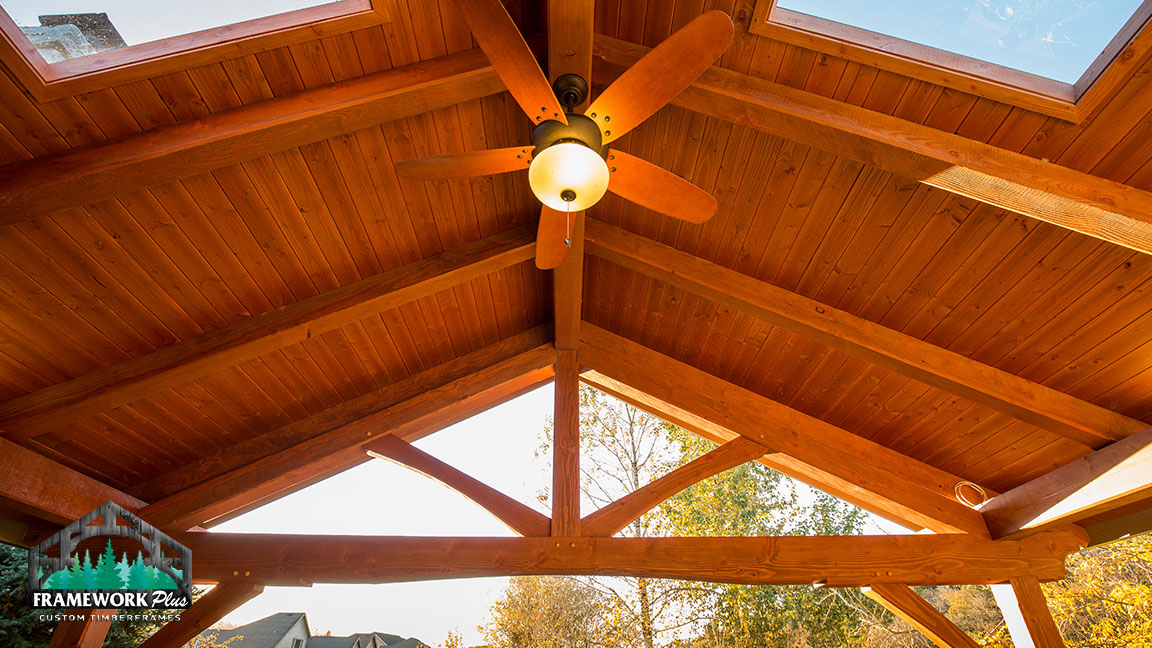 Custom covered deck design with skylights from Framework Plus in Estacada, OR