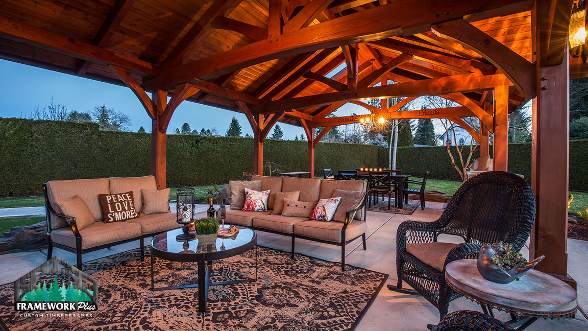 Interior sitting area of the MT. Hood Timber Frame Pavilion built by gazebo builder Framework Plus in Portland, OR