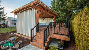 An outdoor deck and hot tub cover made by Framework Plus in Portland, OR