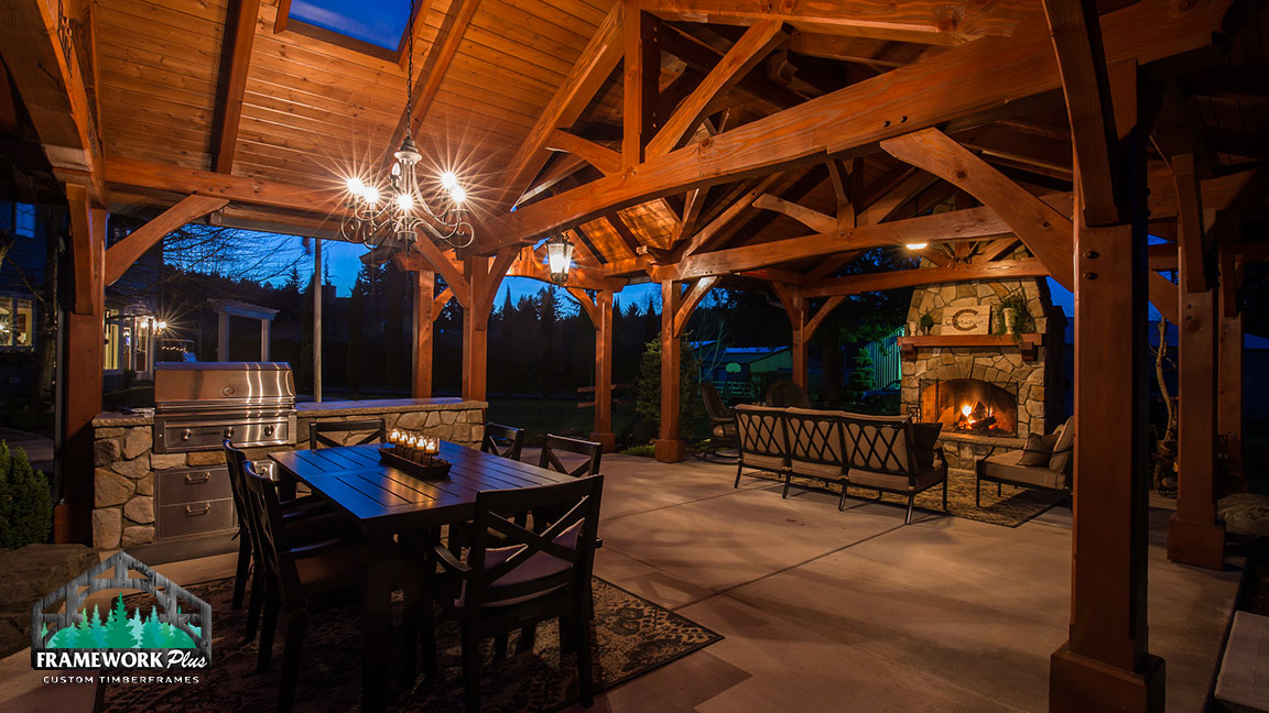 Interior view of the MT. Hood Timber Frame Pavilion built by timber pavilion kits provider Framework Plus in Portland, OR