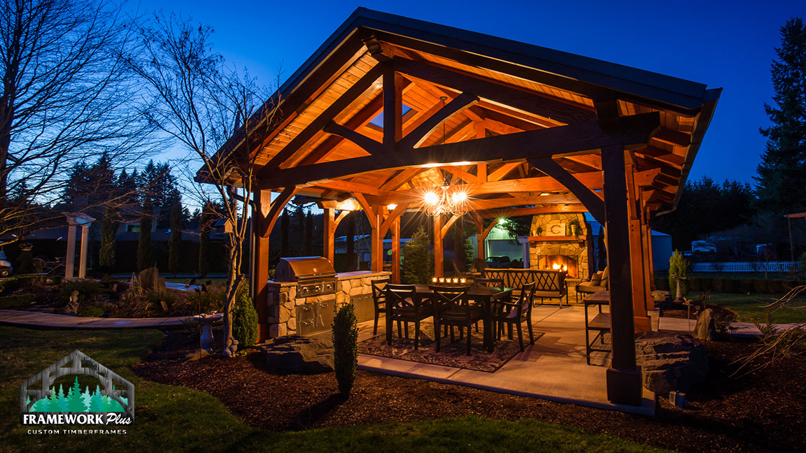 Side back view of the MT. Hood Timber Frame Pavilion built by timber entryway builder Framework Plus in Portland, OR