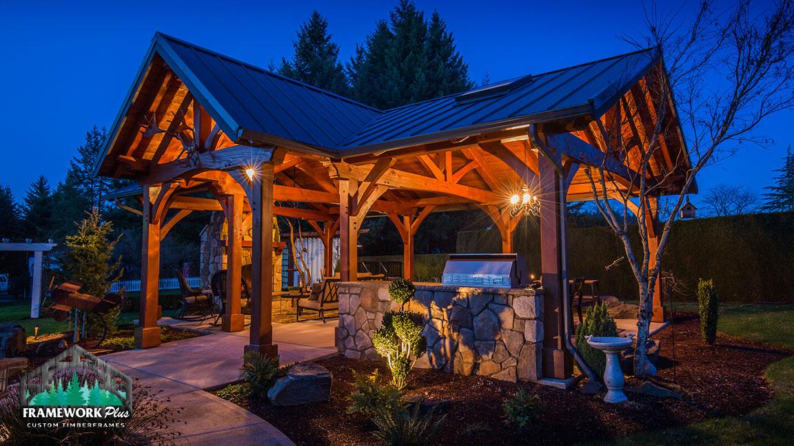 Front left side view of the MT. Hood Timber Frame Pavilion built by timber pavilion kits provider Framework Plus in Portland, OR