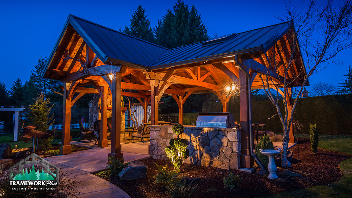 Front left side view of the MT. Hood Timber Frame Pavilion built by timber pavilion kits provider Framework Plus in Portland, OR