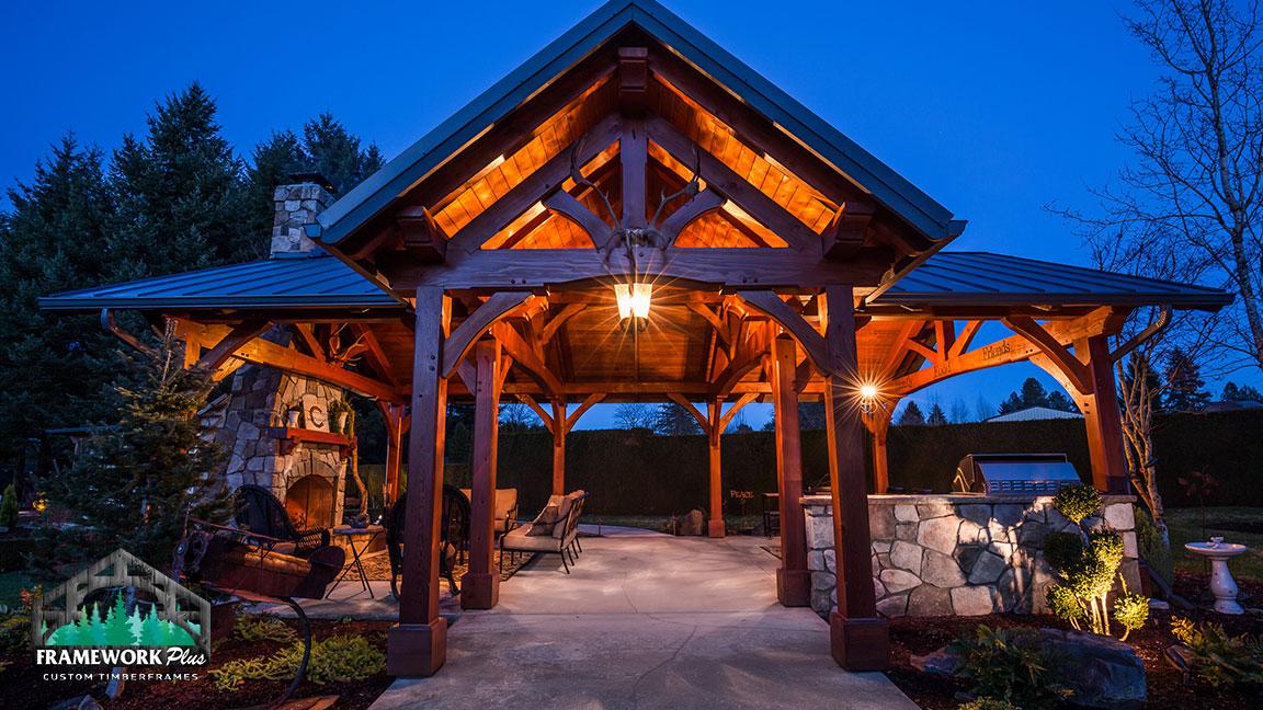 Front view of the MT. Hood Timber Frame Pavilion built by gazebo builder Framework Plus in Portland, OR