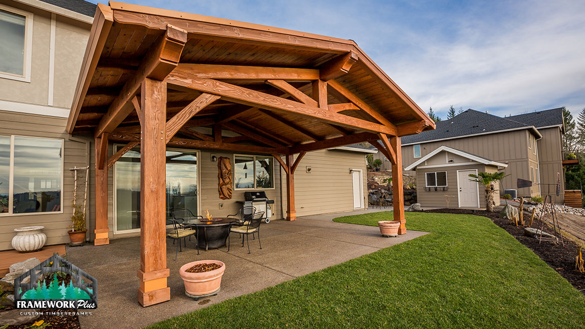 A home with an attached pavilion created by Framework Plus in Estacada, OR
