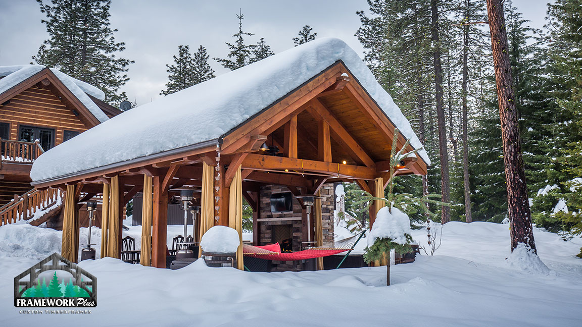 Front side view of a snow covered Trout Lake Pavilion Kit built by gazebo builder Framework Plus in Portland, OR