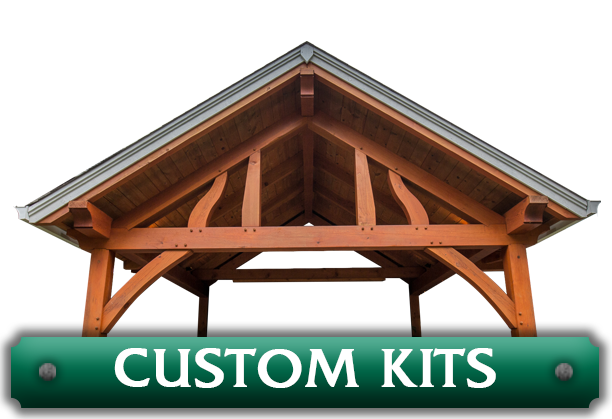 Example of a custom pavilion kit designed by timber entryway company Framework Plus in Estacada, OR