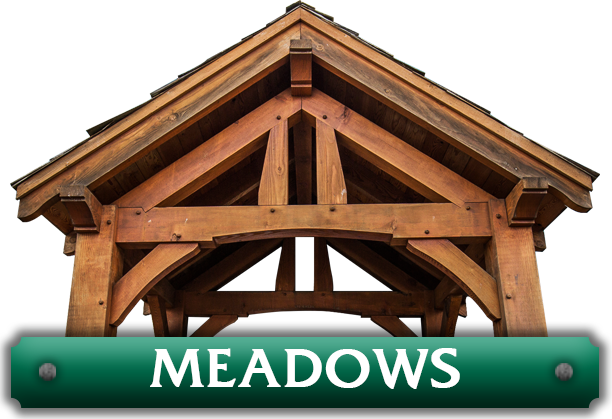 Meadows pavilion kit with queen-post trusses designed by timber entryway company Framework Plus in Estacada, OR