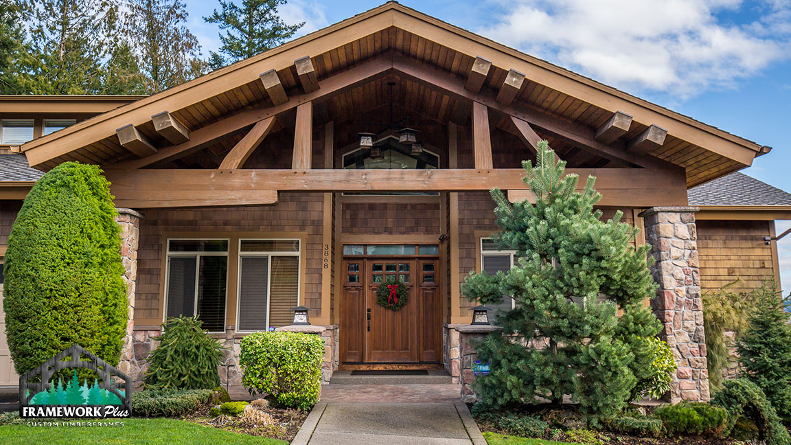 The entryway to a house with woodwork designed by Framework Plus in Portland, OR