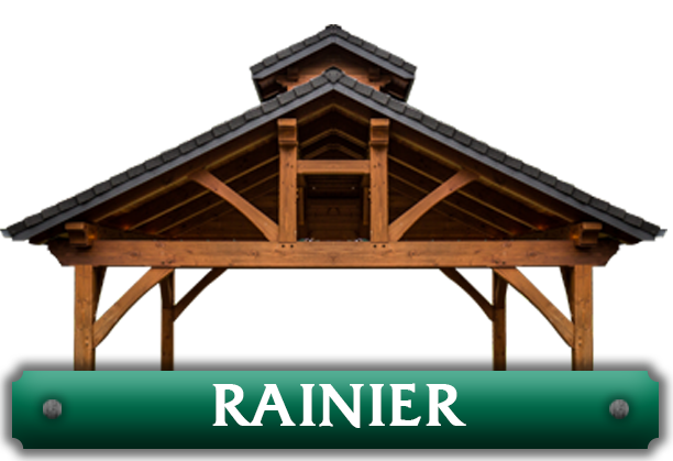 Rainier pavilion kit featuring double ridge timber trusses designed by timber pavilion kit company Framework Plus in Estacada, OR