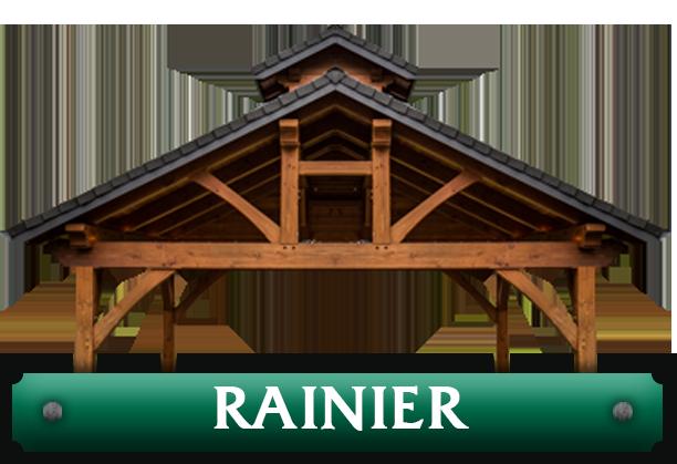Rainier pavilion kit featuring double ridge timber trusses designed by timber pavilion kit company Framework Plus in Estacada, OR