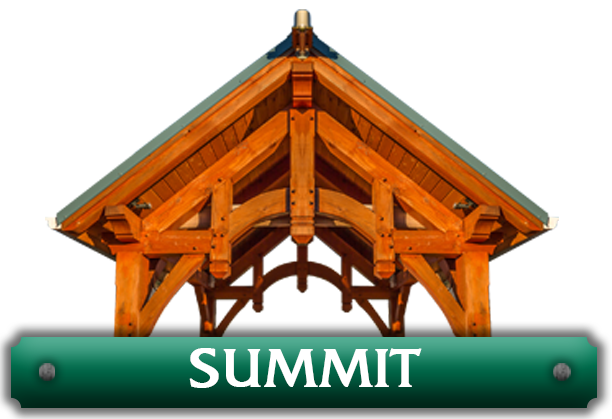 Summit pavilion kit featuring hammer beam trusses designed by gazebo building company Framework Plus in Estacada, OR