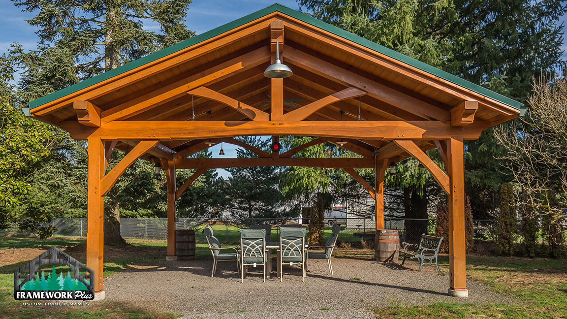 Full view of a Timberline pavilion kit with tongue and groove wood ceiling designed by timber pavilion kit company Framework Plus in Estacada, OR