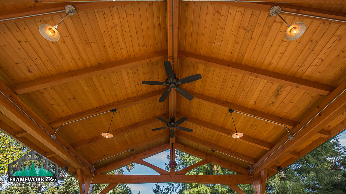 Close-up view of the ceiling of a Timberline pavilion kit with tongue and groove wood ceiling designed by gazebo building company Framework Plus in Estacada, OR