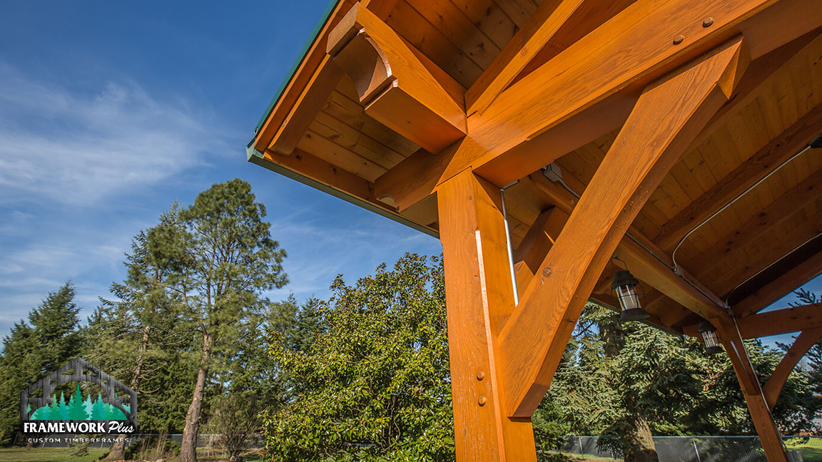 Zoomed-in view of the right corner of a Timberline pavilion kit with tongue and groove wood ceiling designed by timber pavilion kit company Framework Plus in Estacada, OR