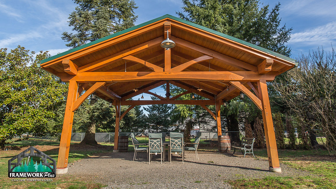 Full view of Timberline pavilion kit with tongue and groove wood ceiling designed by timber pavilion kit company Framework Plus in Estacada, OR