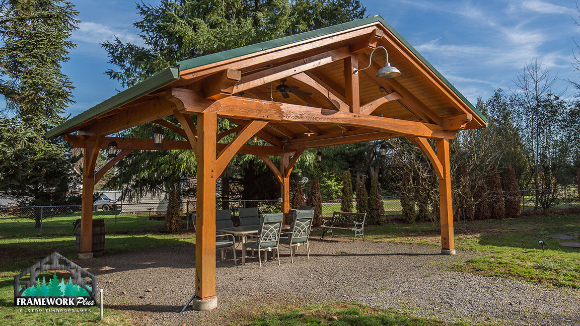 Right-side full view of a Timberline pavilion kit with tongue and groove wood ceiling designed by Framework Plus in Estacada, OR