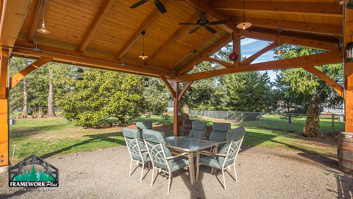 Outdoor dining set and a Timberline pavilion kit with tongue and groove wood ceiling designed by Framework Plus in Estacada, OR