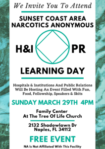 H&I PR Learning Day (Postponed Until Further Notice) @ Tree Of Life Church | Naples | Florida | United States