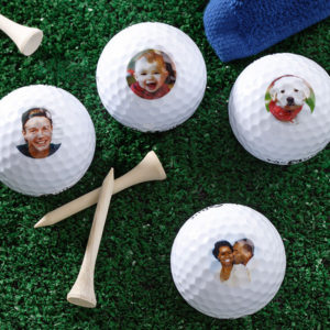 Add personal photos to golf balls, great gift for a golfer