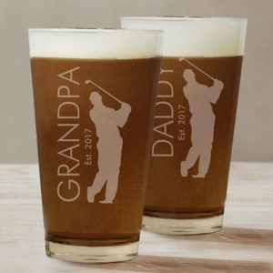 personalized golf pint glass