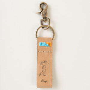 personalized handmade leather golf keychain