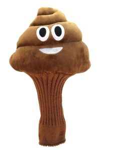 poop emoji golf headcover, funny golfer gifts