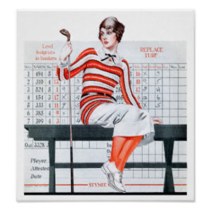vintage woman golfer poster retro