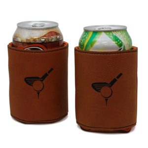 leather golf beer koozie, leather beer can cooler for golfers, golf koozie