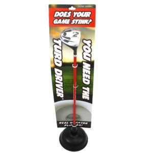 turd driver golf plunger, funny golf gag gift