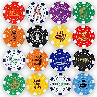 poker chip golf ball markers, golf themed poker chip ball markers