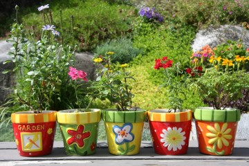 Funky, Colorful Large Garden Containers Add Landscape Appeal