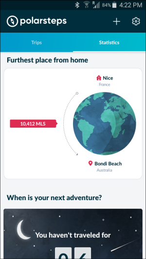 Polarsteps app furthest point from home graphic