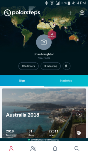 Polarsteps app all trips summary screen