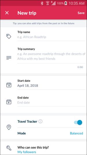 Polarsteps app new trip screen
