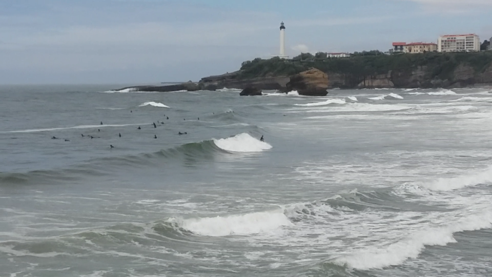 Surfers riding a solid swell at Biarritz, France.