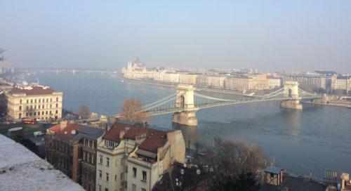 Winter view of the Chain Bridge, Budapest, Hungary