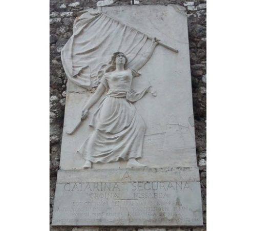 Bas-relief monument honoring 16th century French resistance heroine Catarina Segurana.