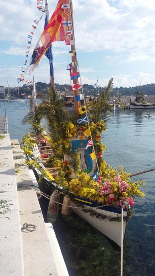 Villefranche-sur-mer Naval Flower Battle decked out boat